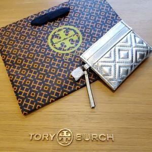 Tory Burch Fleming Metallic  Card Case